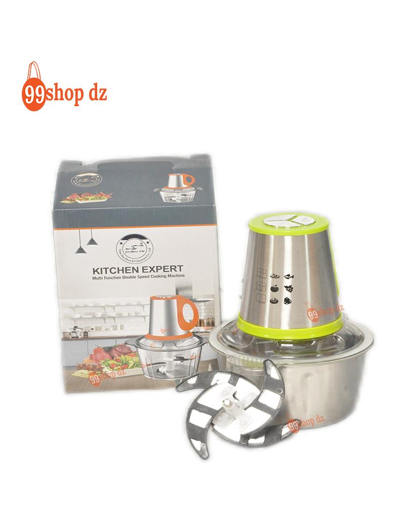 قطاعة كهربائية للأطعمة 2 لتر ومفرمة مطبخ للحوم والخضروات مع وعاء من الفولاذ المقاوم للصدأ