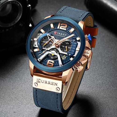 Montre de luxe pour Hommes avec Bracelet en Cuir , Résiste à l'Eau