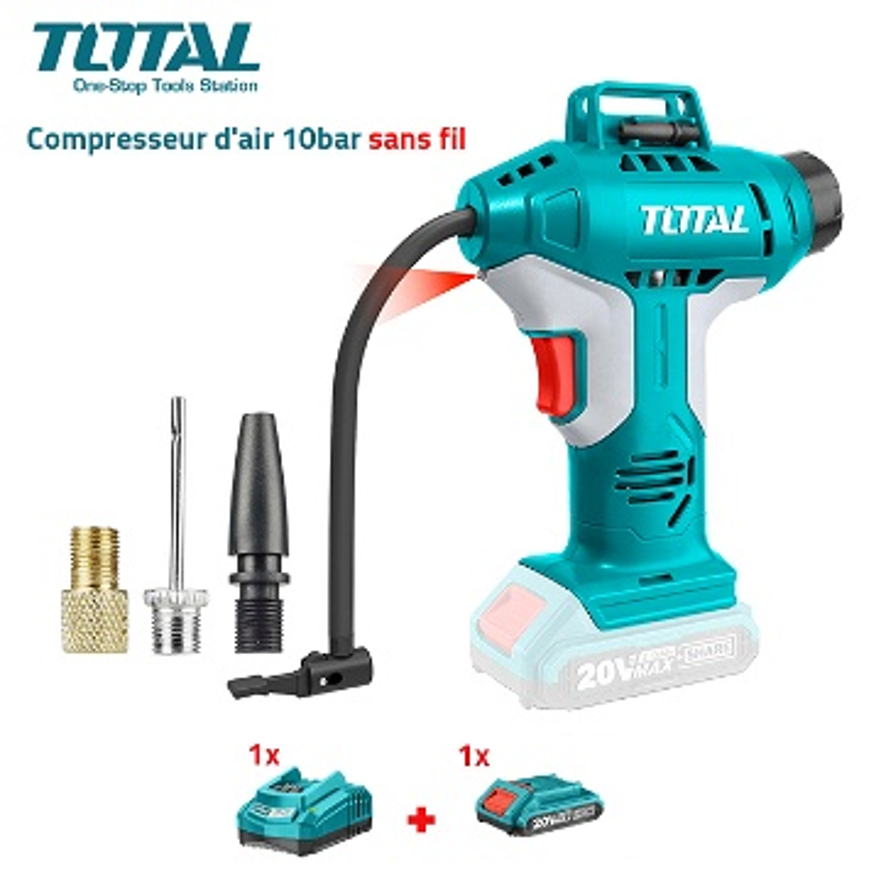 Compresseur d'air sans fil  20V 10BAR TOTAL TACLI2001