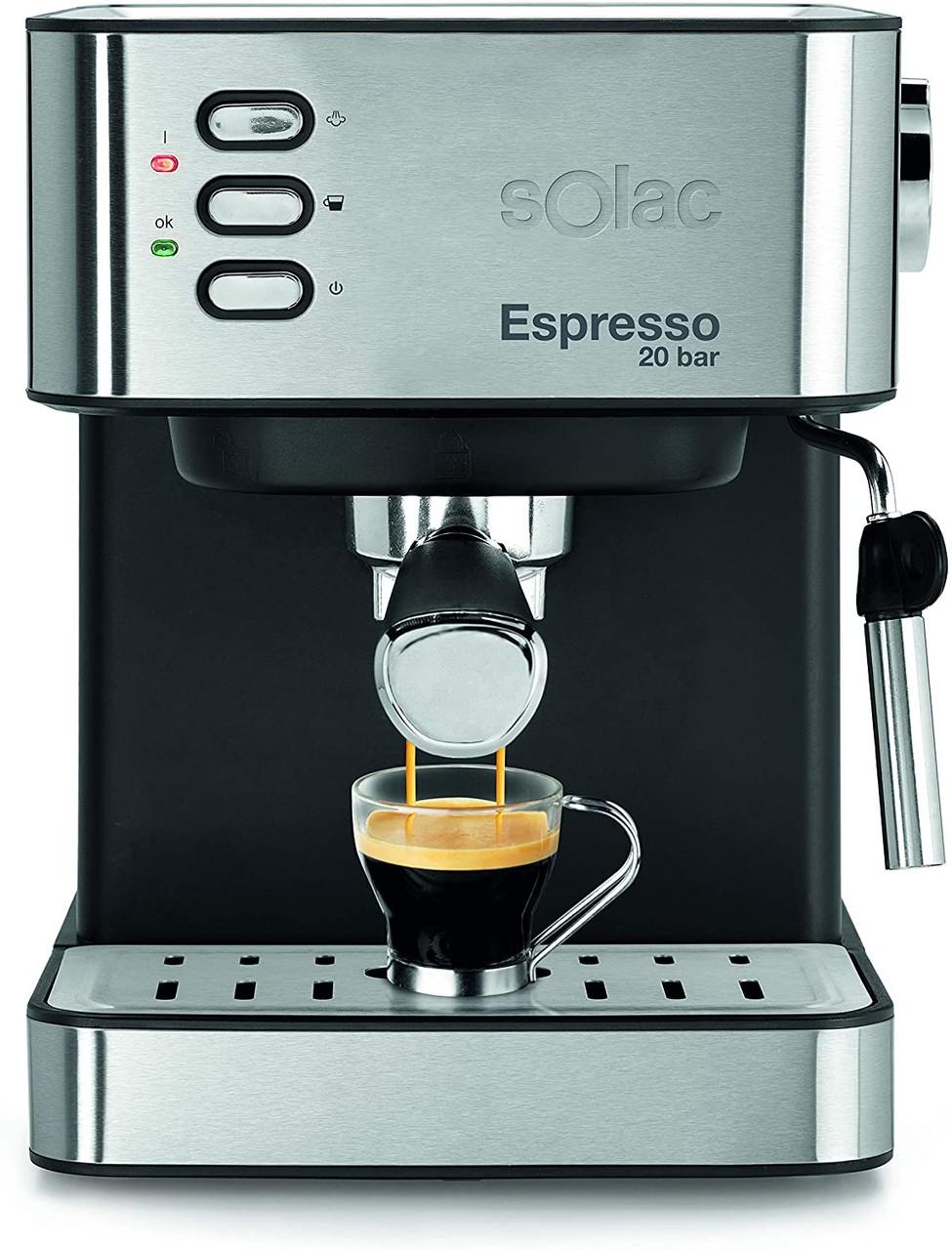 Machine à expresso Solac  20 bar 2 en 1 pour dosettes ou café moulu, inox