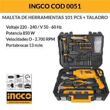 Valise Outils + Perceuse 850 W 101 pcs INGCO