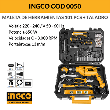 Valise Outils + Perceuse 650 W 101 pcs INGCO