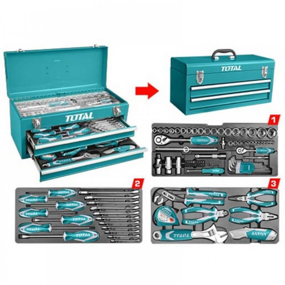 Kit d'outils Professionnel TOTAL Avec 97 Piéces - THPTCS70971