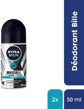 85970 NIVEA MEN Déodorant roll-on invisible For Black & White fresh (50ml)