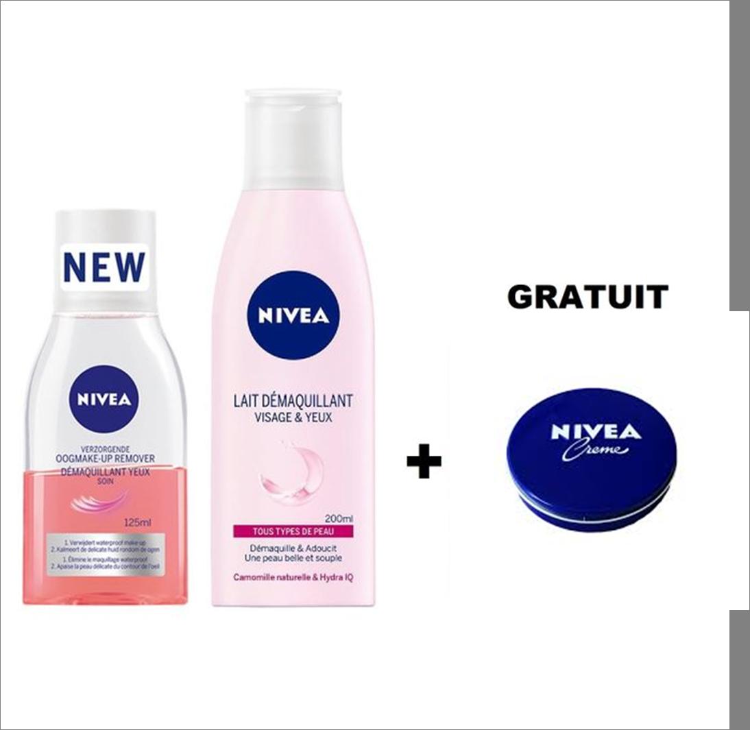 Nivea Pack Lait Démaquillant Visage & Yeux + Crème Nivea GRATUIT
