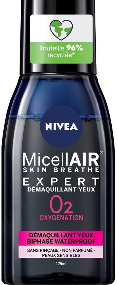 NIVEA MicellAIR Skin Respiration 125 ml, Démaquillant Visage & Yeux, Nettoyant pour tous types de peau