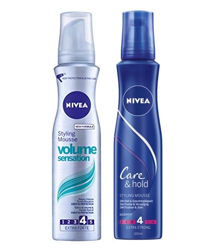 Nivea Hair Mousse Styling Care & Fixation 150 ml  (Plus de Volume et 24h de soin)