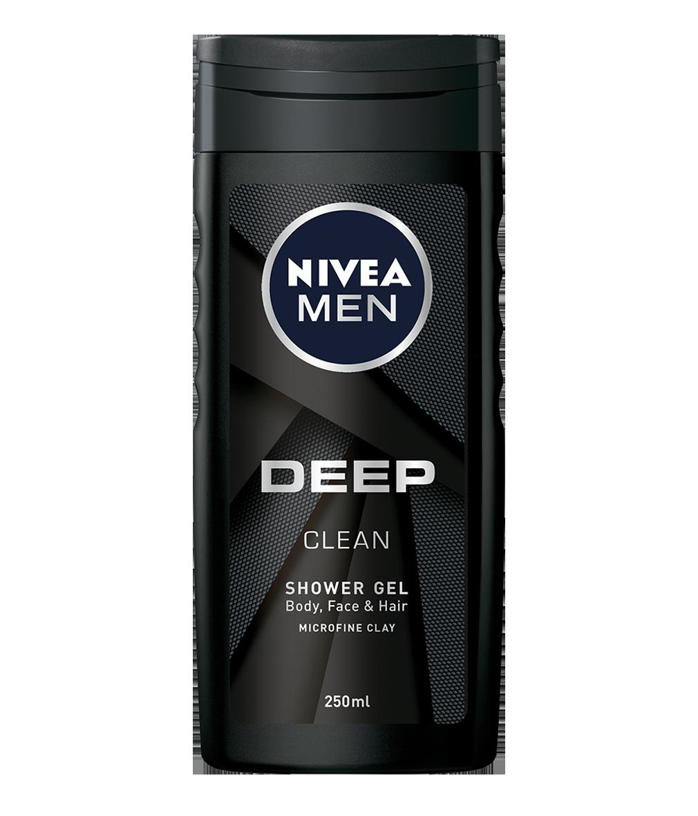 84086 Nivea Men Gel Douche DEEP 250 ml  جل الاستحمام للجسم للرجل والجسم والشعر العميق النظيف