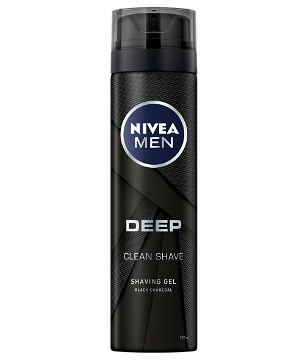 81963 NIVEA Men DEEP Clean Shaving Gel 200 ml With Natural Charcoal To Clean While Shaving