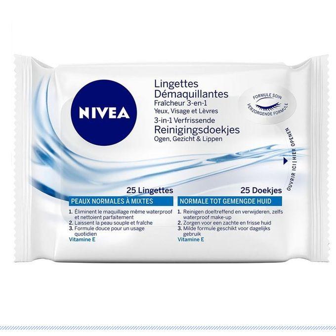 NIVEA Lingettes démaquillantes douceur peaux normales à mixte 3 en 1 yeux levres et visage 25 unités