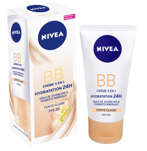 NIVEA Nivea BB cream crème de teint 6 en 1 clair, Soin femme à l'huile de Jojoba BIO