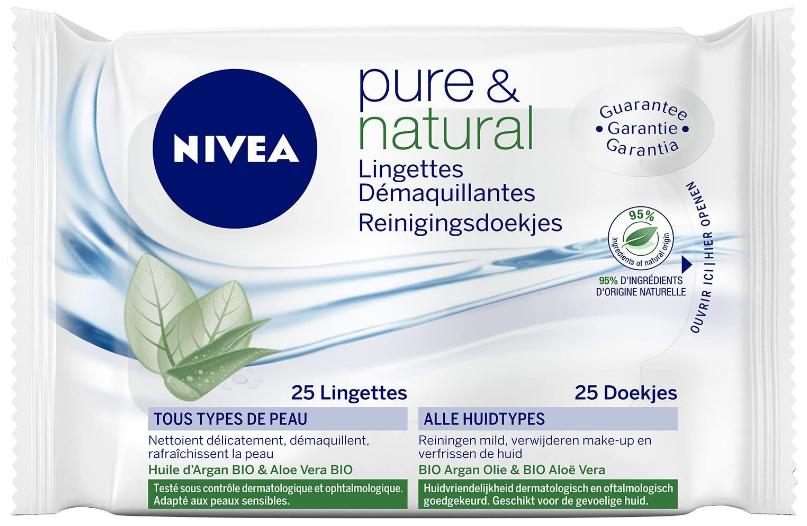 81902 Nivea Pure et Natural Lingettes Démaquillantes Biodégradables 25 lingettes