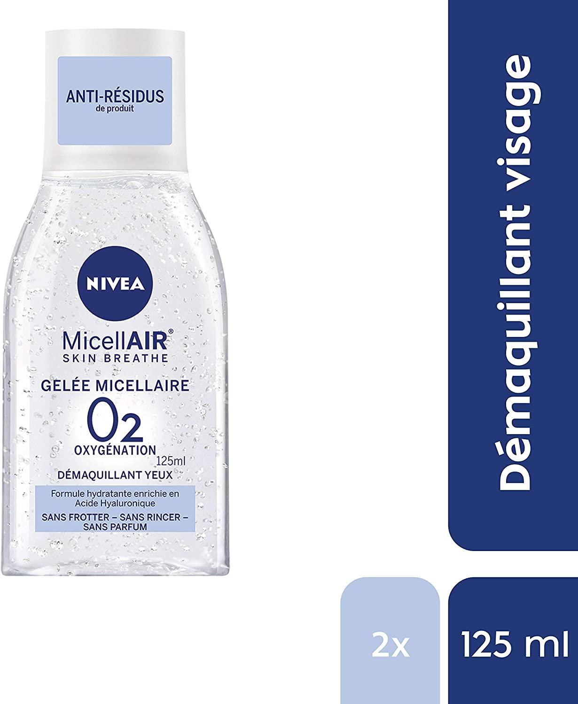 82513 NIVEA MicellAIR Skin Respiration Gel Micellaire Sans huile (125 ml), Démaquillant Visage & Yeux, Nettoyant pour la peau, Démaquillant Sans huile