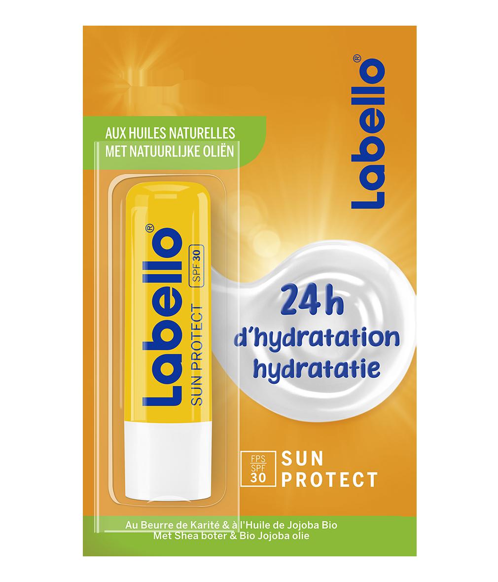 85040 NIVEA SUN Labello Protection Solaire FPS 30, stick lèvres protection UVA/UVB & hydratation 24 h, baume à lèvres au beurre de karité et huile de jojoba bio