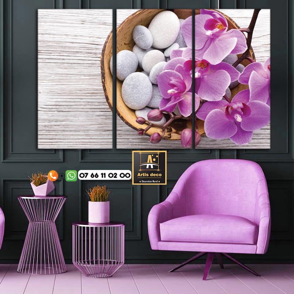 Tableau zen orchidée galet