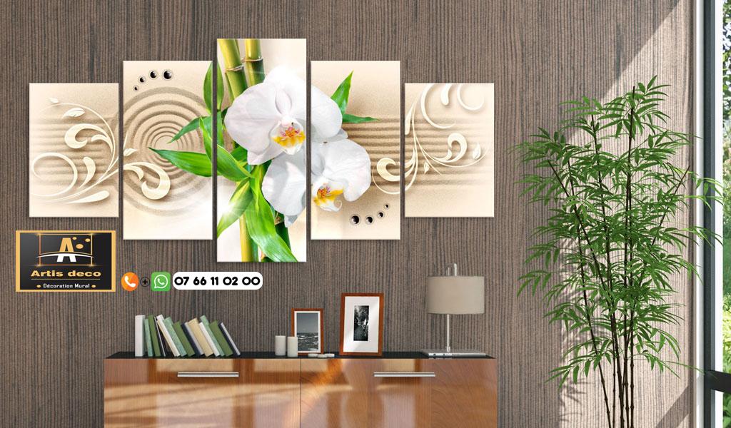 Tableau zen orchidée sur sable