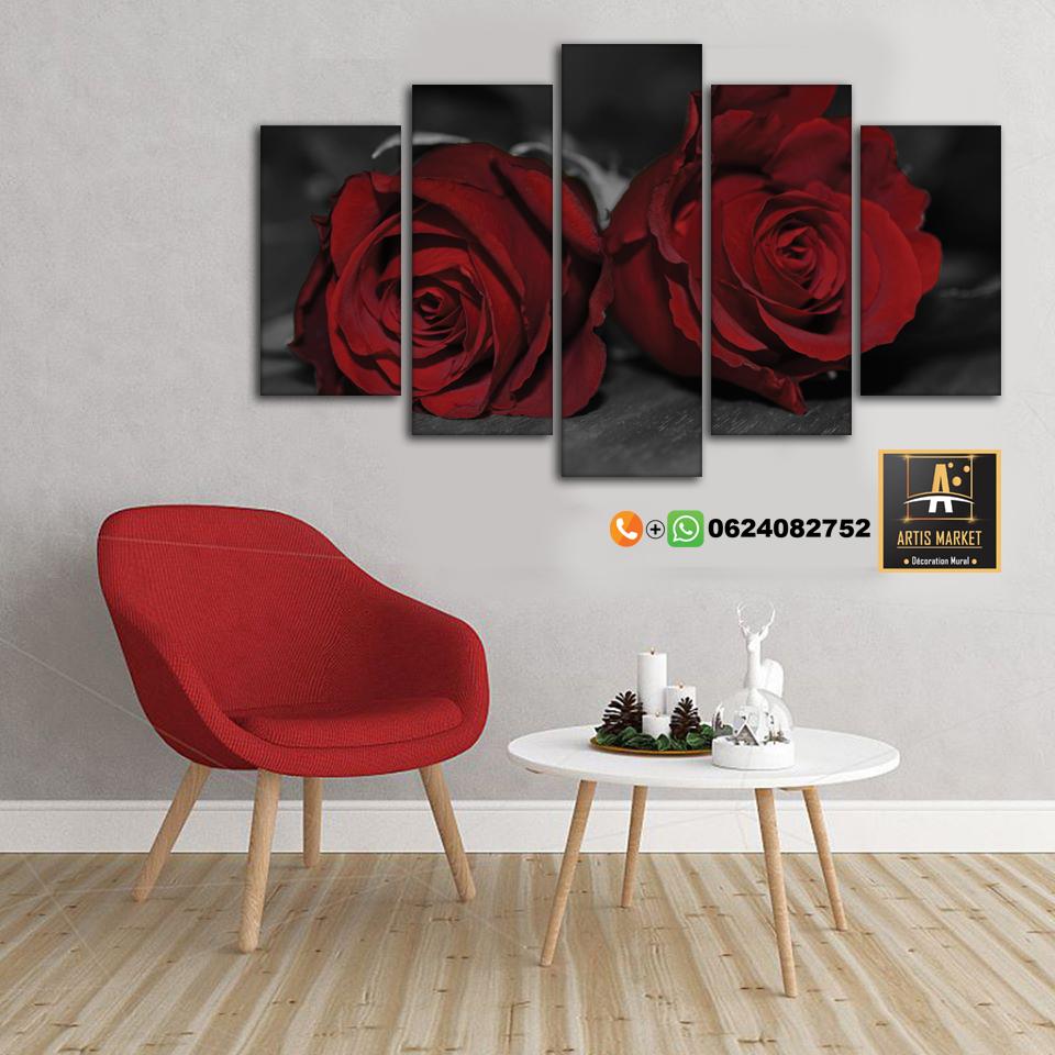 Tableau Décor-Fleur Rouge-