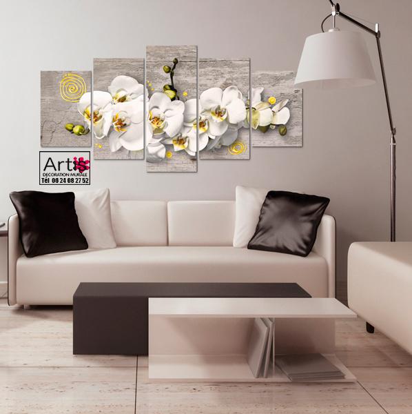 Tableau - Orchidées ensoleillées - 5 pièces