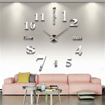 Generic DIY 3D Wall Clock With Mirror Number Stickers Silver