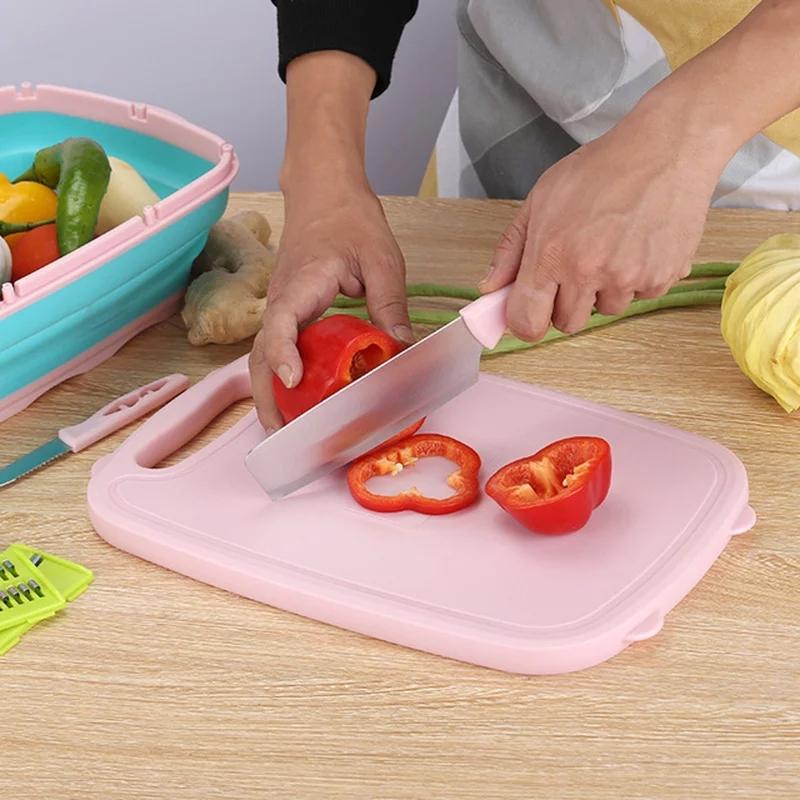 9 en 1 planche à découper cuisine pliante panier de vidange