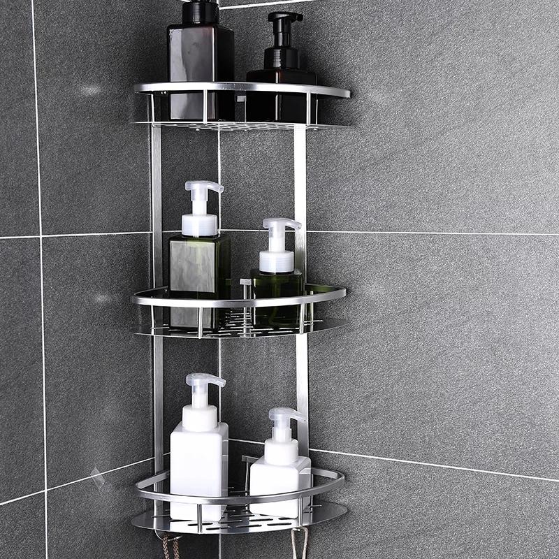 Étagère d'angle de la salle de bain   En aluminium épais 3 couches