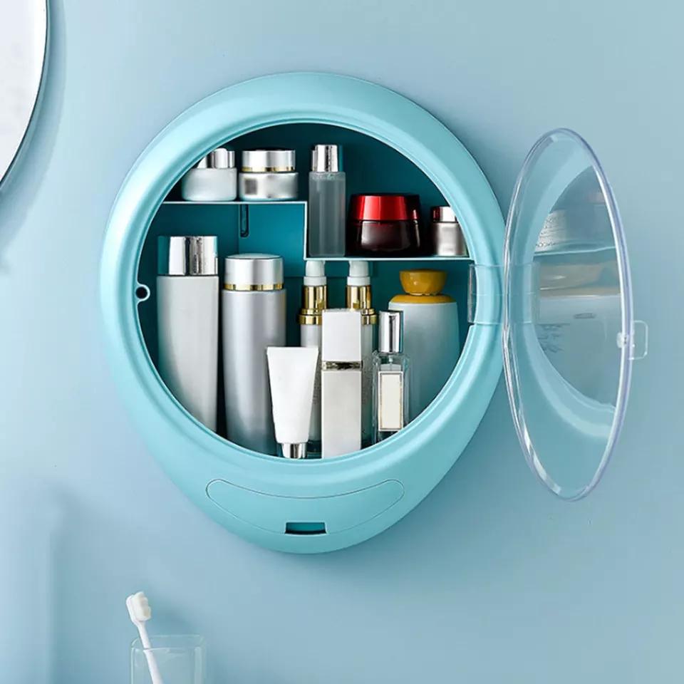 Boîte de rangement cosmétiques plastique transparent type salle de bain 3 colore