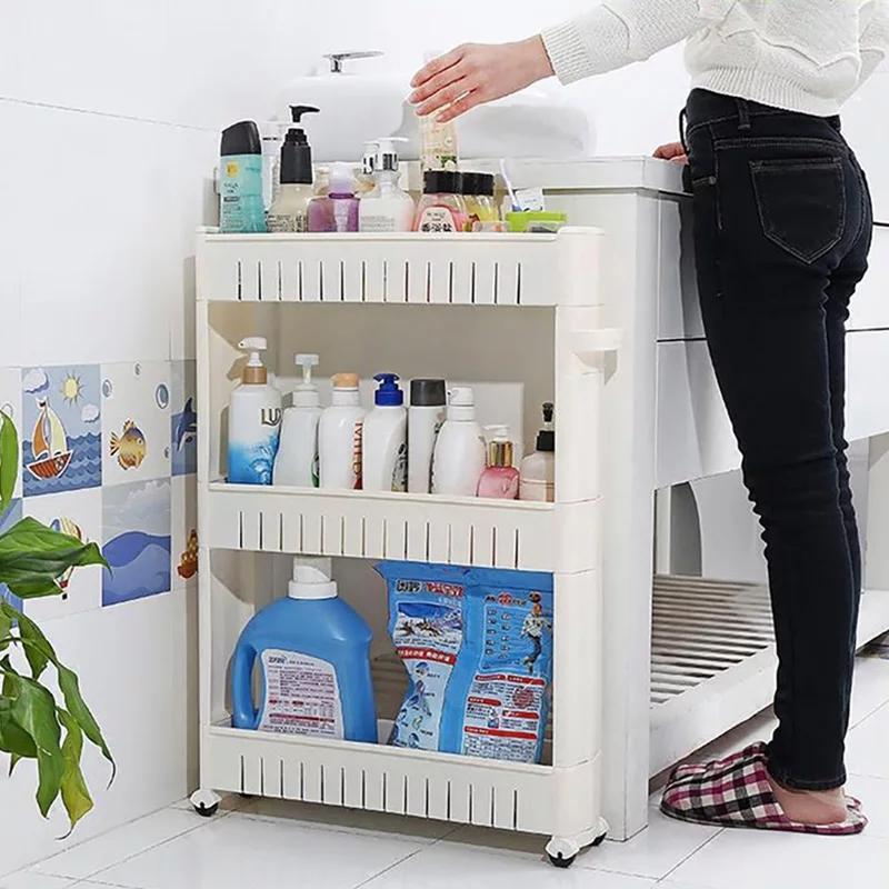 Étagère de rangement pour cuisine, salle de bain, plastique, multifonction pince de sol, 3 couches matelassée