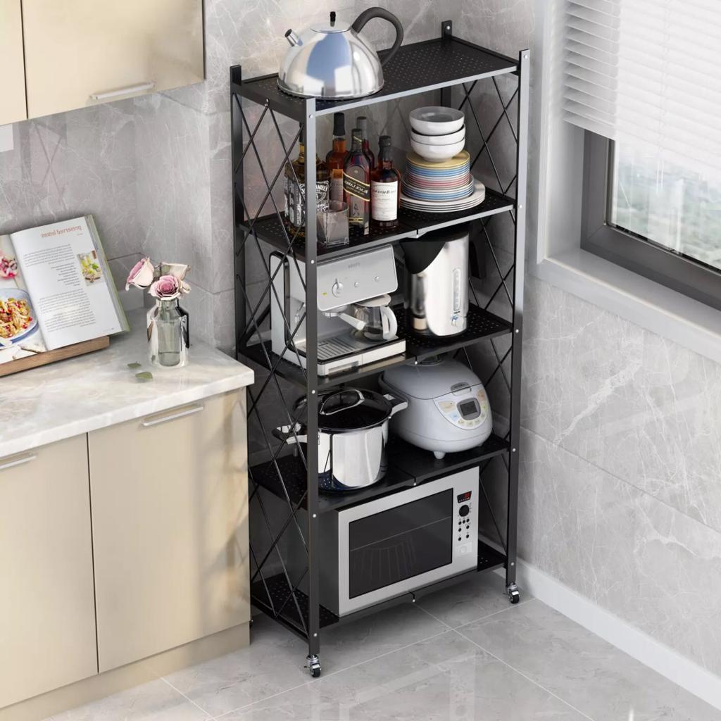 Multifonctionnel cuisine de rangement avec roue en métal 5 étagère