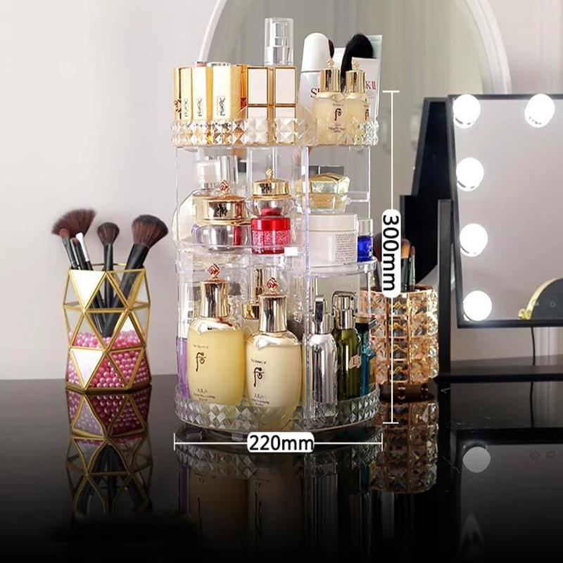 support de stockage 360 degrés rotatif maquillage  hauteur réglable cosmétiques organisateur assemblée