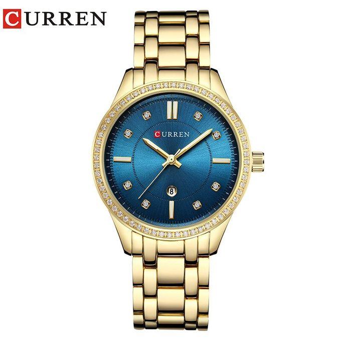 Montre Curren 9010 Or-Bleu Femme Prix Maroc
