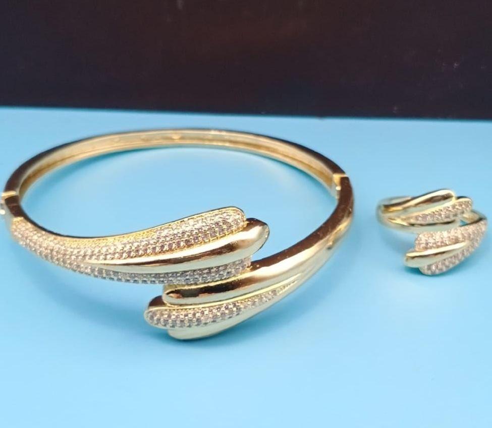 Bracelet Et Bague Plaqué Or Femme
