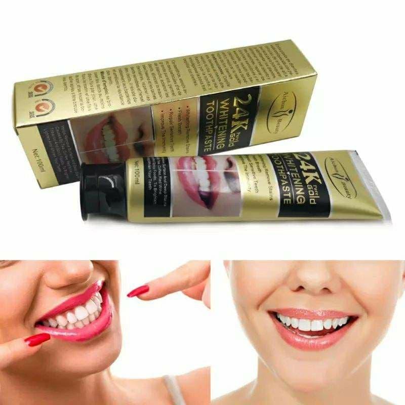 معجون الأسنان غني بجزيئات الذهب عالية النقاوة لتبيض و تلميع الأسنان،يزيل الرائحة الكريهة وبقع