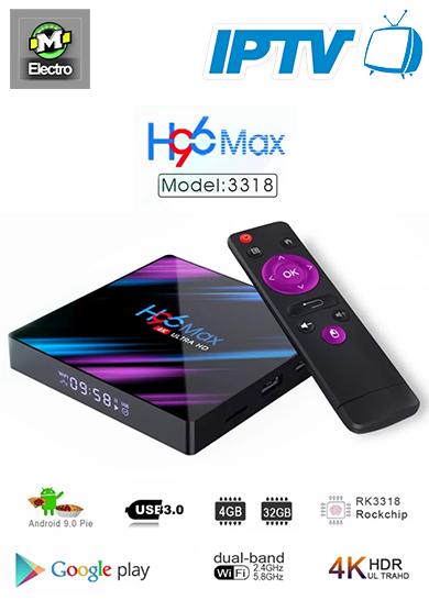 H96 MAX TV BOX 4GB RAM+32GB ROM Android 9 + IPTV 1 ANS