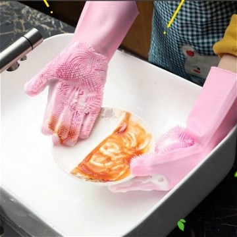 قفازات السيليكون لتنظيف الأواني والحمام
