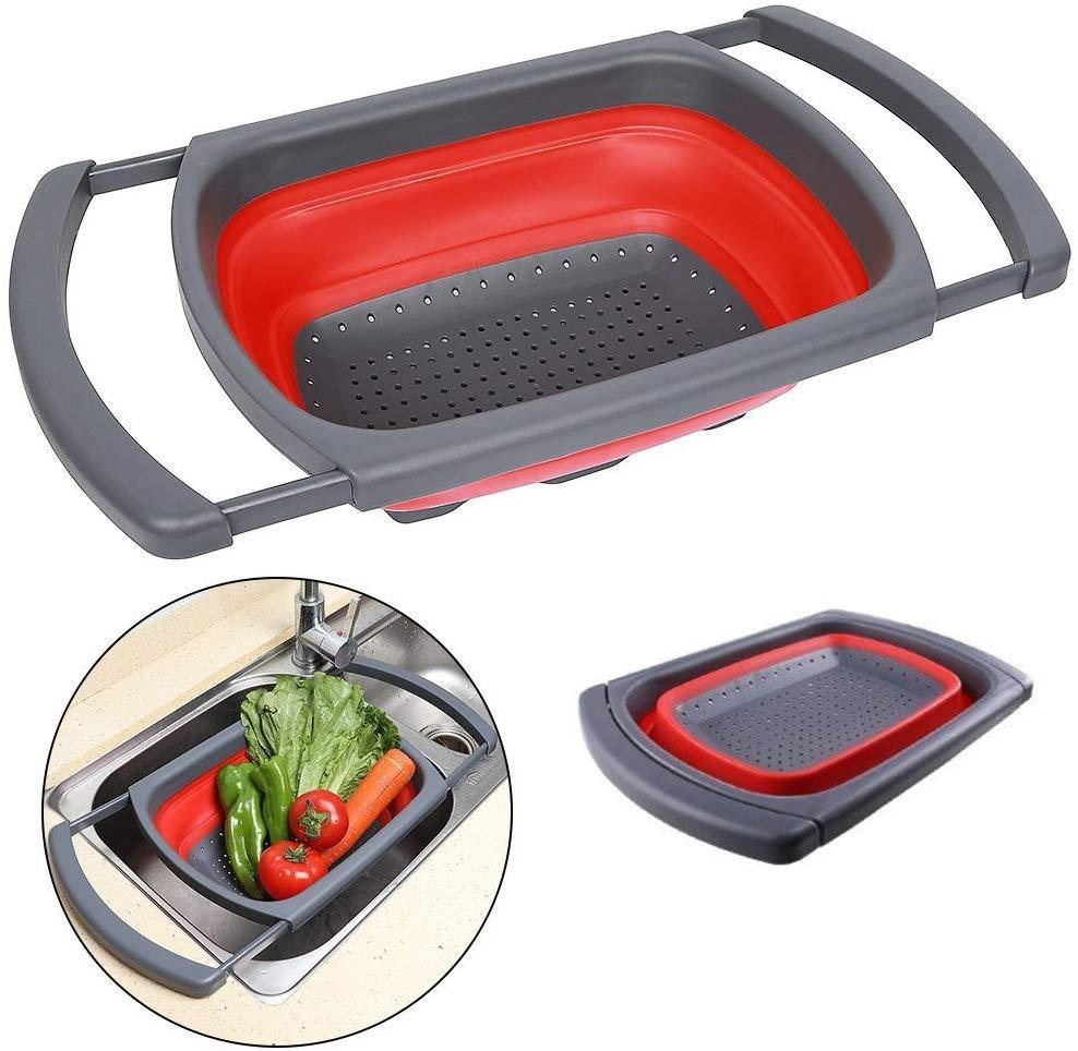 إناء وقطارة مع ذراعين متمددين تتناسب مع حوض المطبخ متعدد الاستخدامات