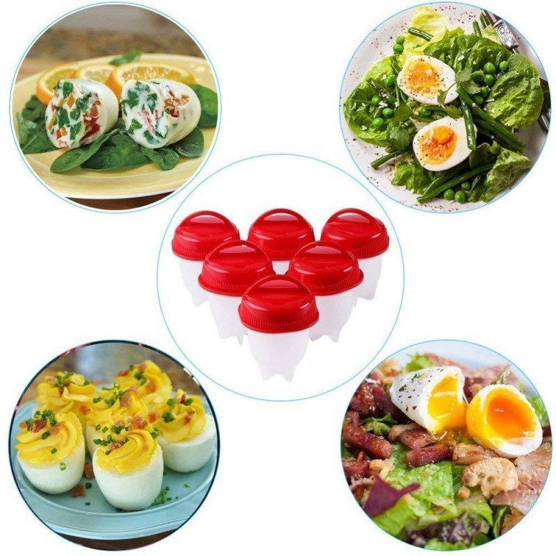 أوعية طهي البيض المسلوق بدون قشرة - 6 أوعية