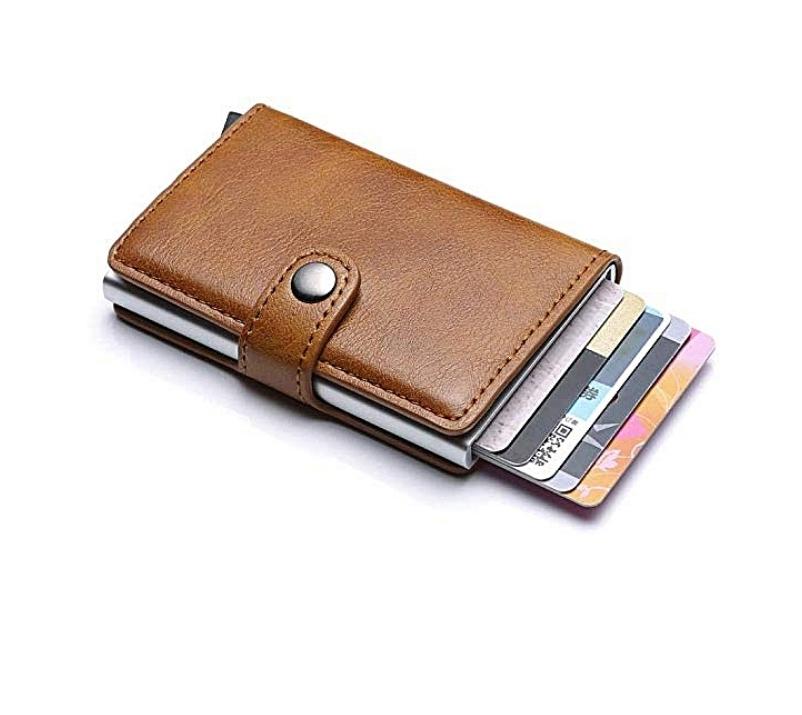Portefeuille Miniwallet anti détournement de données des cartes RFID Marron