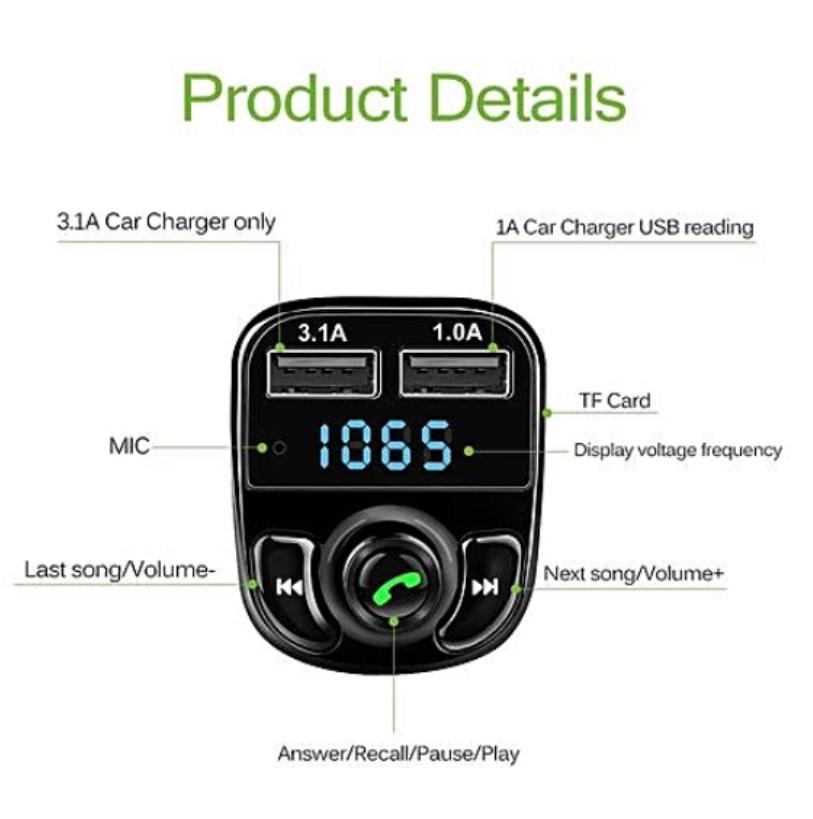 Adaptateur 2 USB -Micro Sd Radio bluetooth voiture
