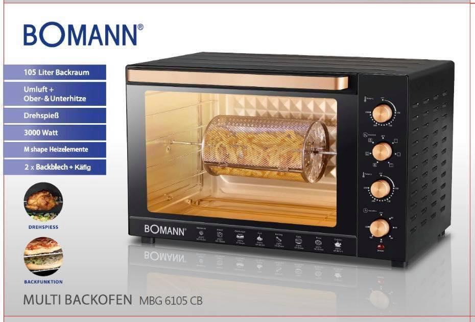 فرن المطبخ الحراري الحجم العائلي 105 لتر من Bomann