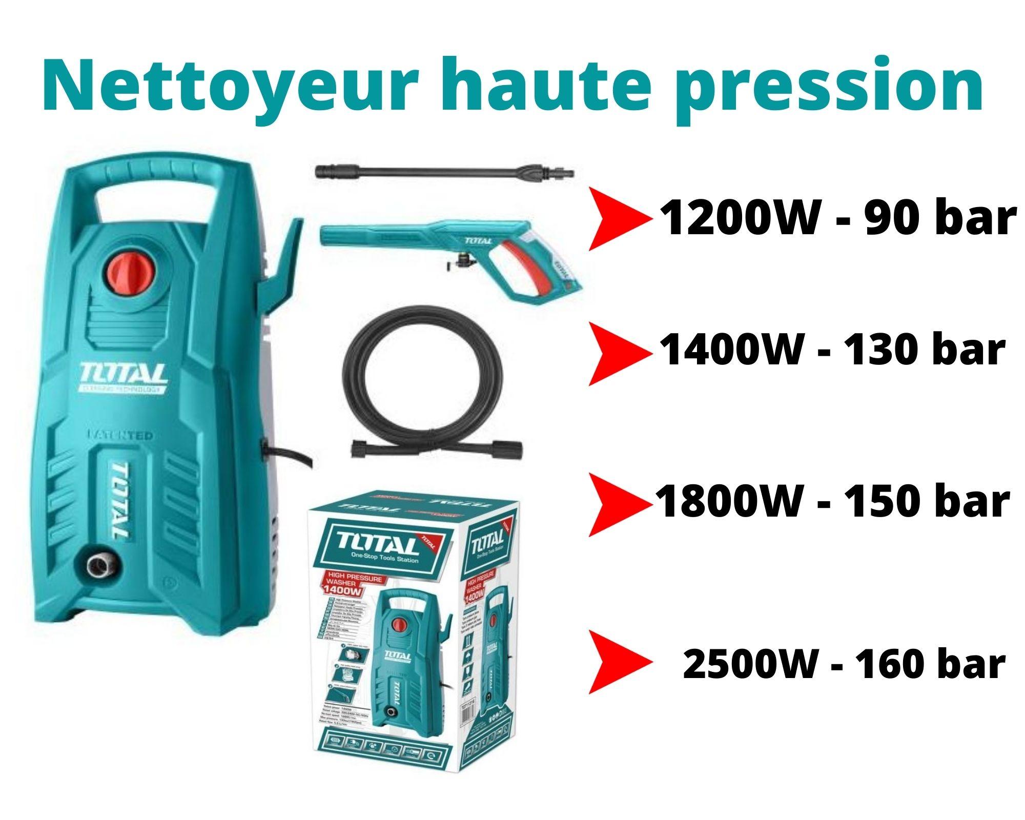 TOTAL- Nettoyeur à haute pression (1200W-1400W-1800W-2500W)