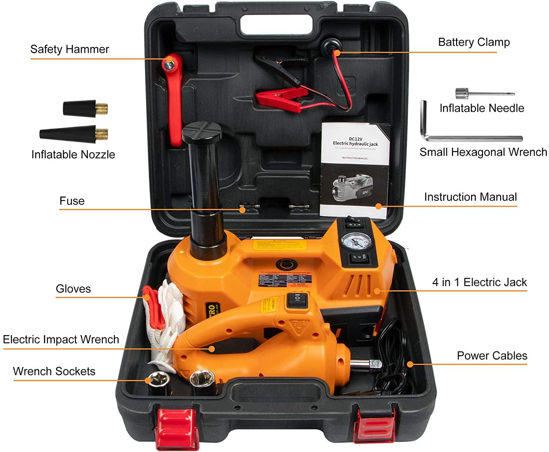 حقيبة أدوات السيارة المتكاملة متعددة الاستعمالات 4في1 مع رافعة ومضخة هوائية