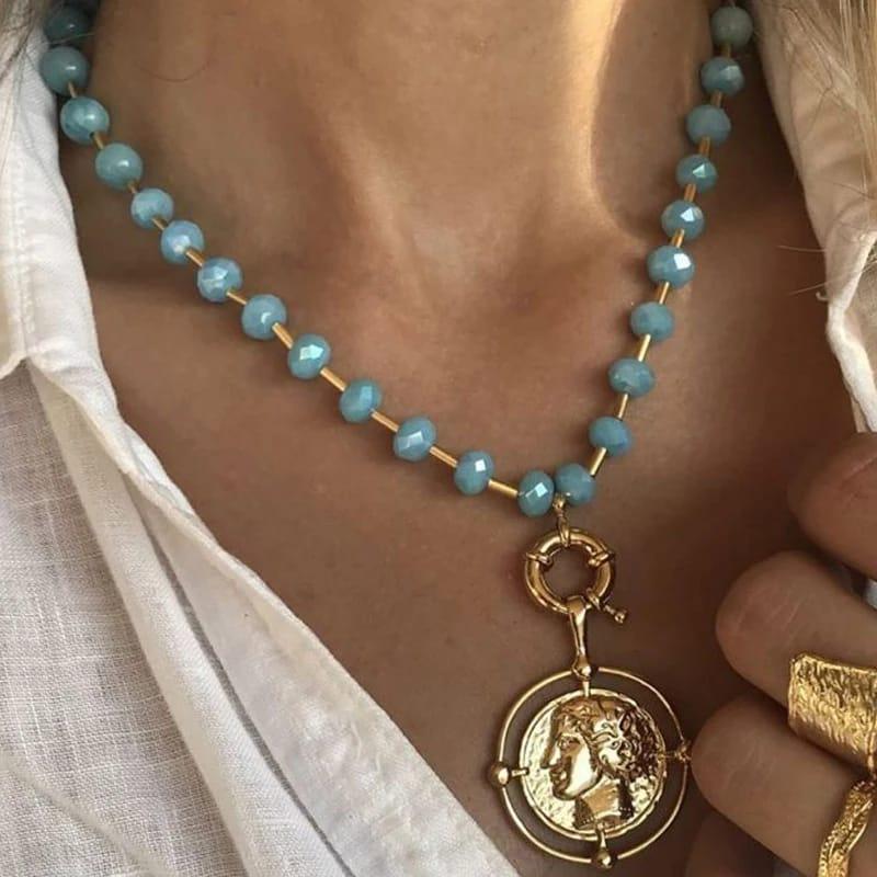 Tocona Punk pièce pendentif collier pour femmes breloque perle or couleur alliage métal chaîne tour de cou collier