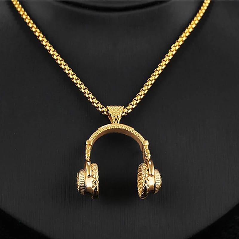 Ventilateur  INOXYDABLE DJ musique casque pendentif collier longue chaîne hommes femmes Hip Hop bijoux Rock casque collier mâle