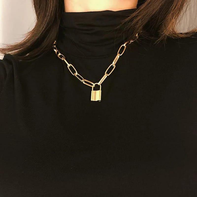 Rock collier INOXYDABLE  du cou pour les femmes Punk or grosse chaîne Mujer clé cadenas pendentif colliers