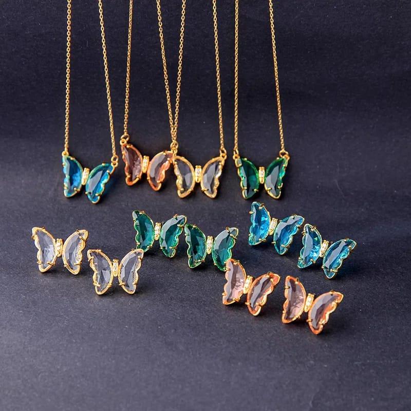 Cristal papillon bleu rose couleur clair pendentif INOXYDABLE chaîne courte collier 2021 nouveau Design pour les femmes bijoux