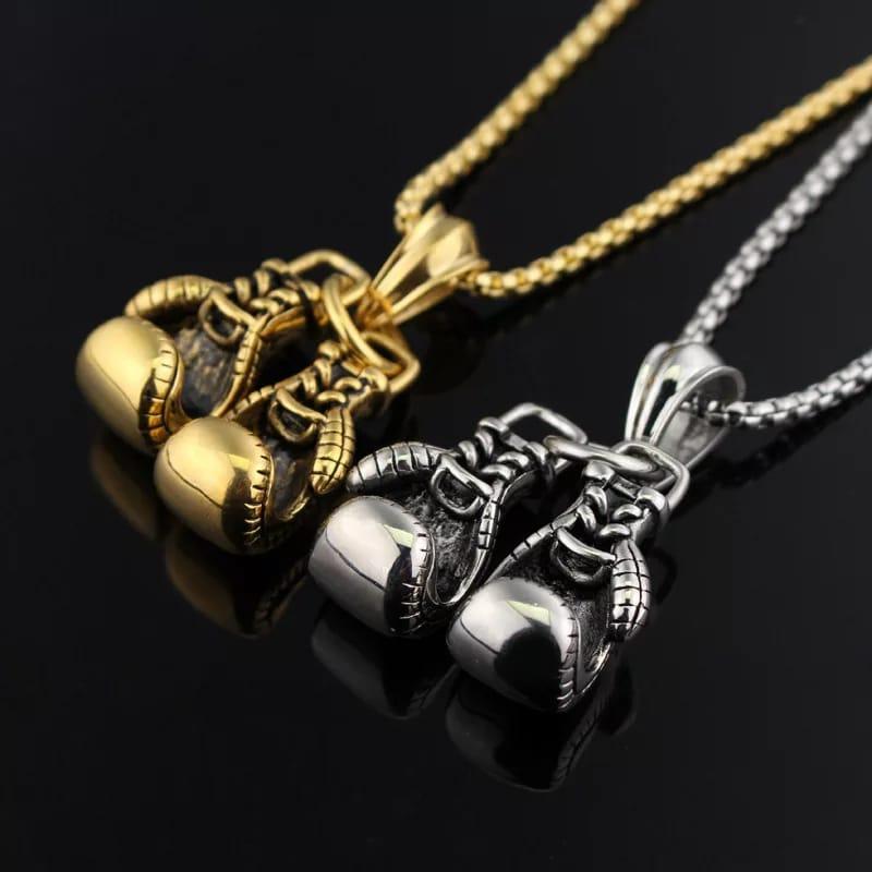 Gant de boxe collier couleur or ou argent inoxydable chaîne paire gant de boxe pendentif colliers pour hommes  charme mode Sport Fitness bijoux