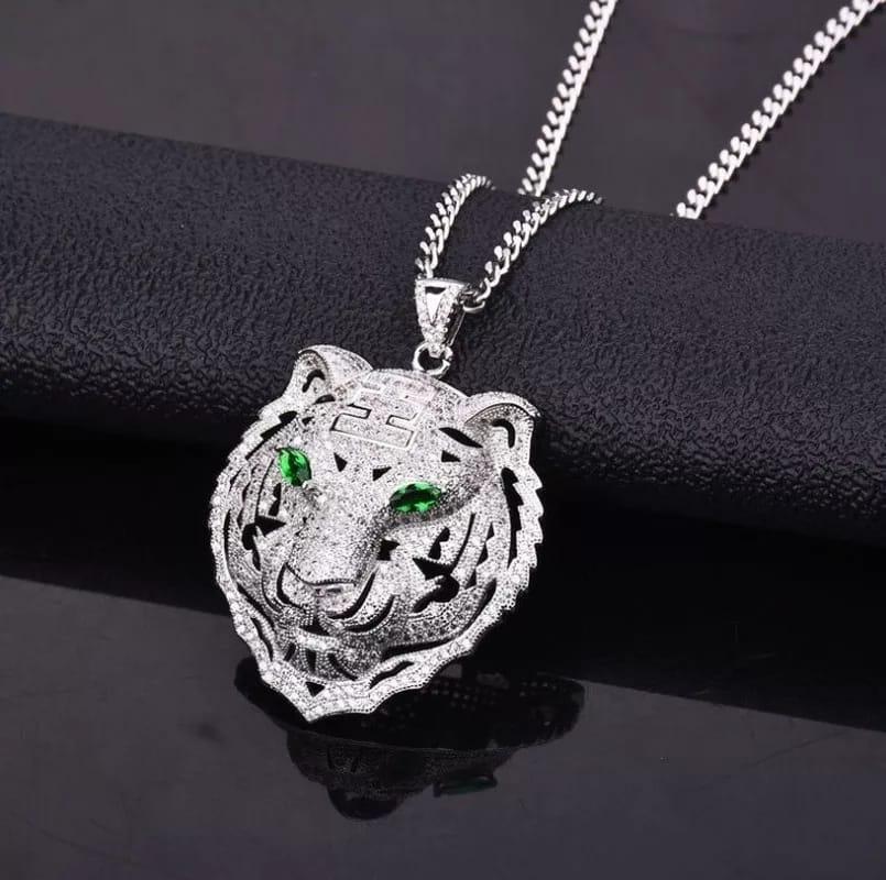Colliers pendentifs en forme de Tigre en Zircon incrustés pour hommes et femmes , bijoux Hip Hop
