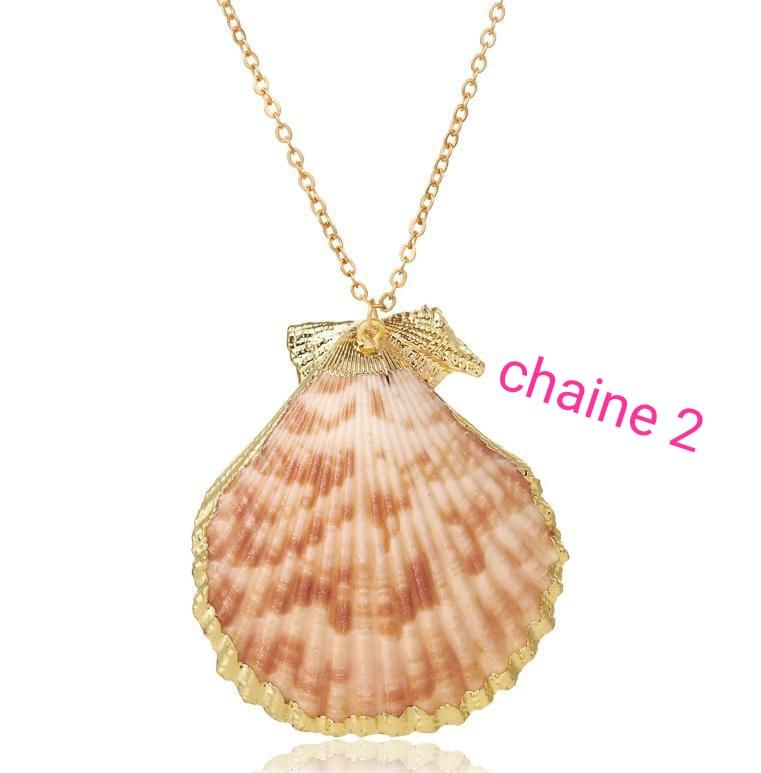 Collier en alliage d'or INOXYDABLE pour femmes, Boho, avec pendentif en chaîne, bohémien, étoile de mer , coquillage .