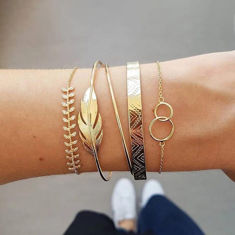 Ensemble de bracelets ouverts pour femmes, style bohème, couleur or, feuille de lune, cristal opale, Punk, Boho, cadeau, 5 pièces/ensemble