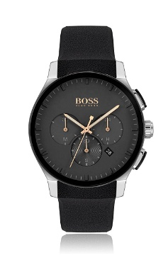 BOSS Crystal-surfaced chronograph watch with integrated silicone strap